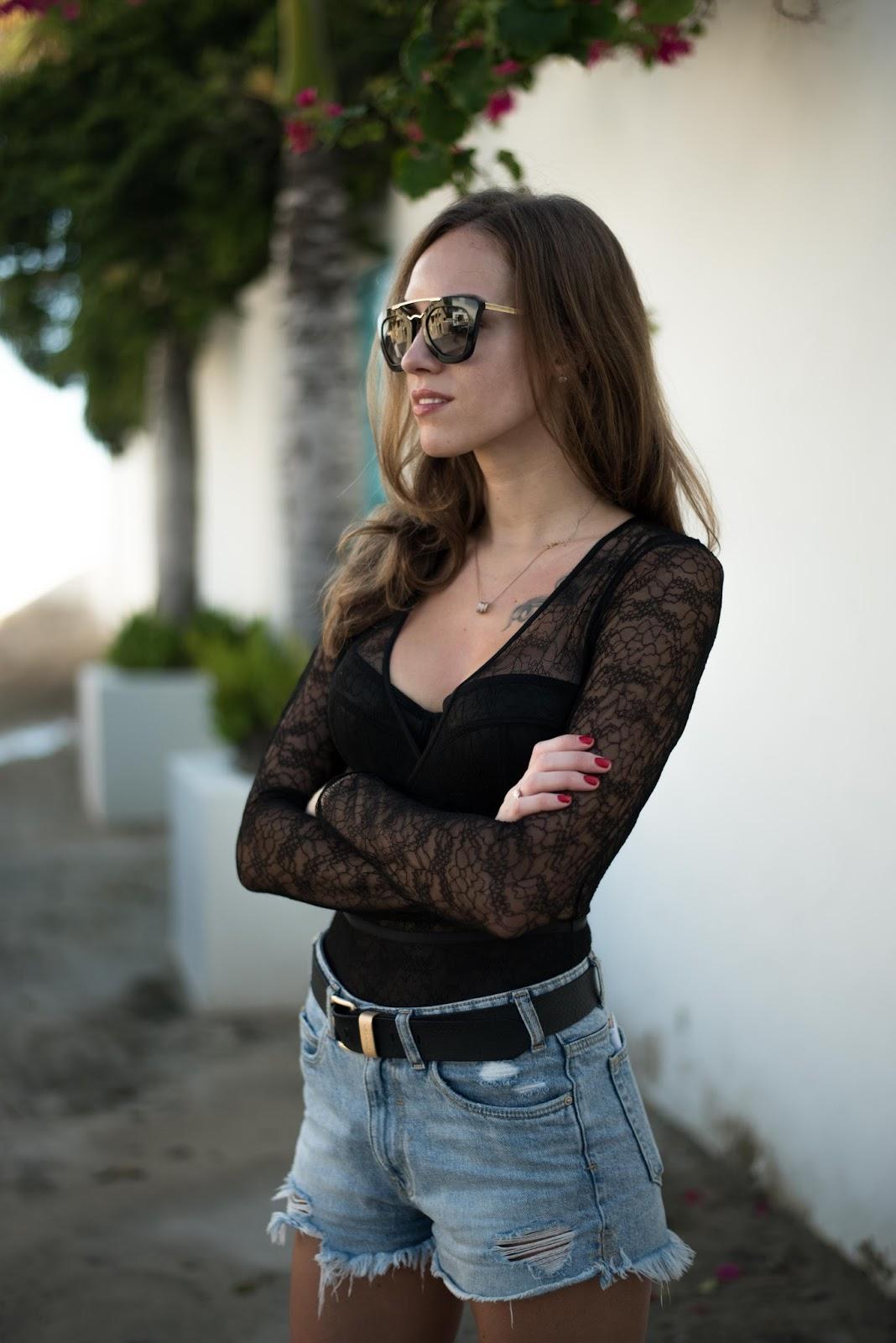 black longsleeve bodysuit outfit