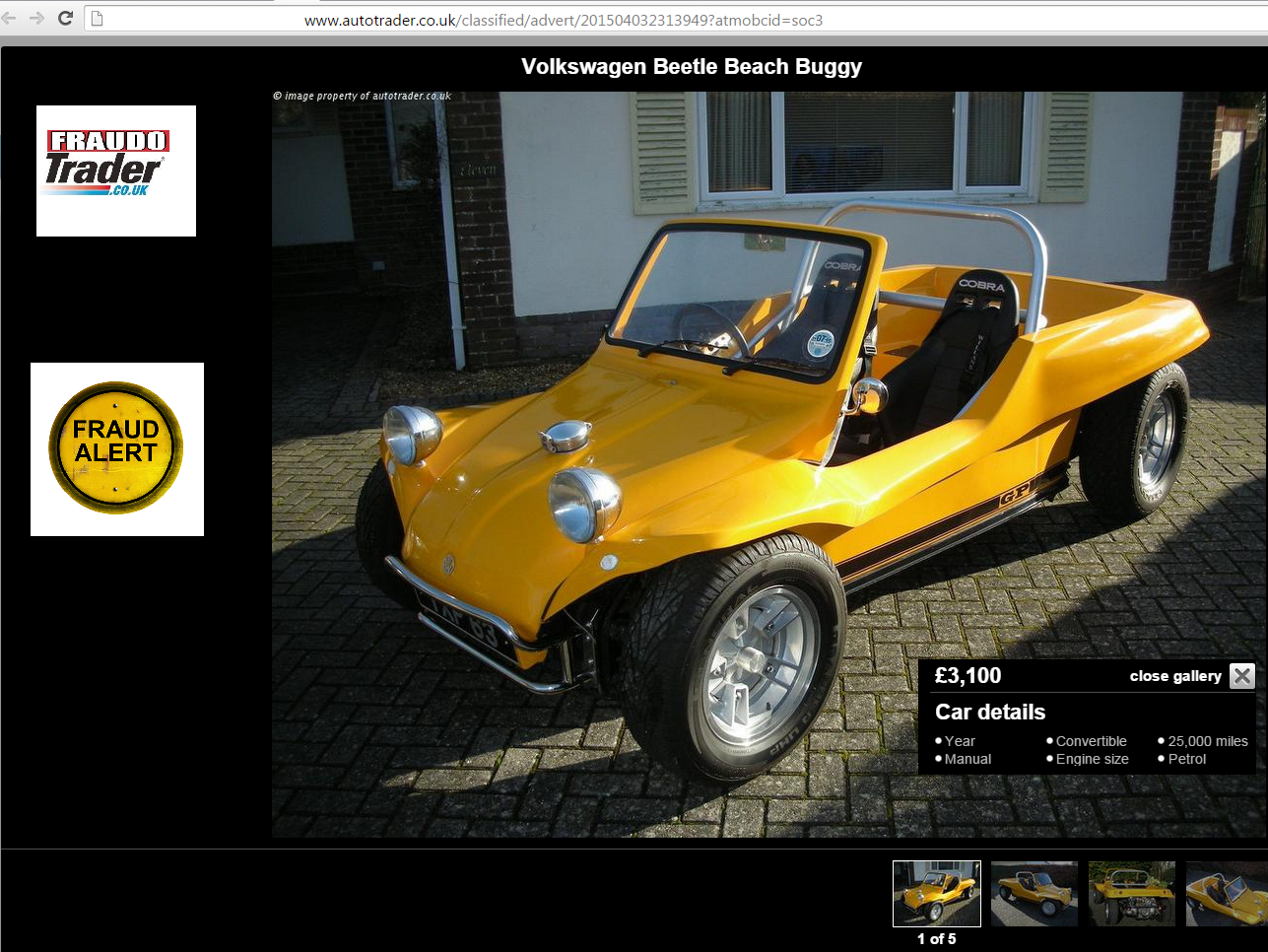 Jack Buster Jack Autotrader Scam Volkswagen Beetle Beach Buggy Yxp63 Fraud Yxp 63 15 Apr 15
