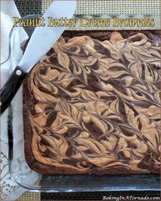 Peanut Butter Creme Brownies, dense chocolatey brownies baked with a peanut butter creme swirl. | Recipe developed by www.BakingInATornado.com | #recipe #chocolate