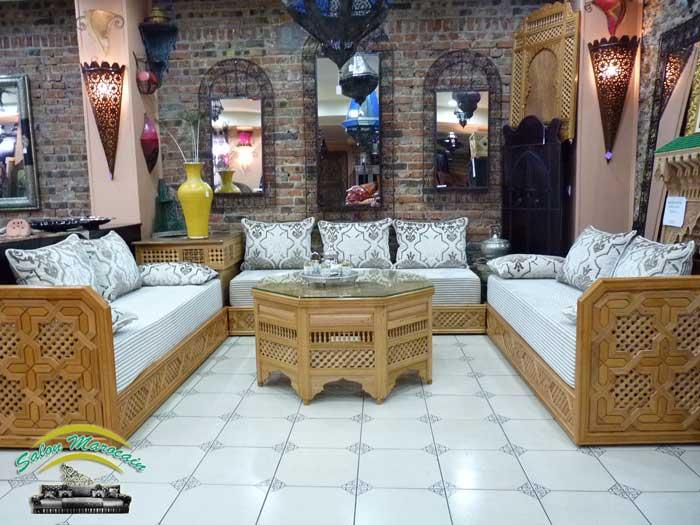 Boutique salon marocain 2016 2017 for Banquette en bois pour salon