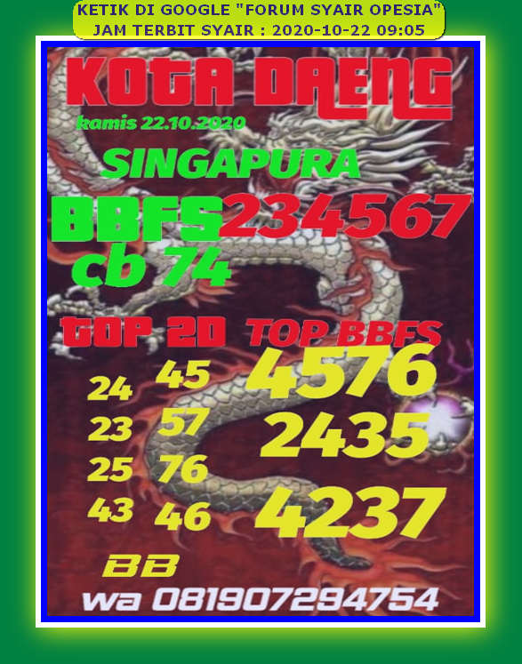 Kode syair Singapore Kamis 22 Oktober 2020 103