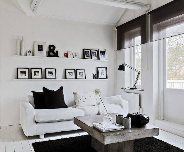 Casa scandinava bianco nero con serra