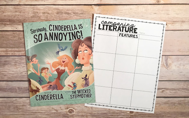 "Mentor Text with text ""Seriously, Cinderella is So Annoying!"" and Graphic Organizer with text ""Comparing Literature"""