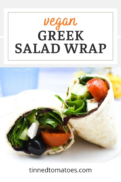 A tasty vegan lunch wrap filled with Greek salad and a delicious Greek Salad Dressing.