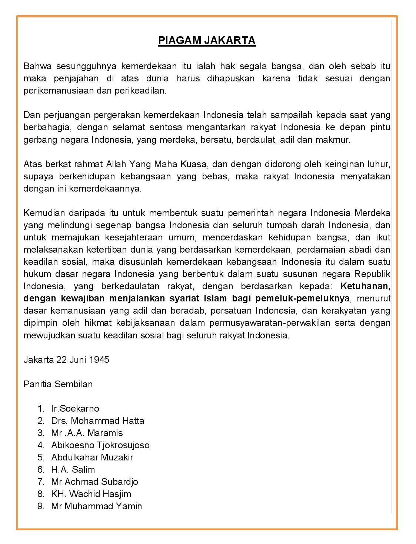 Sebutkan Isi Piagam Jakarta : sebutkan, piagam, jakarta, Sejarah, Piagam, Jakarta, (Jakarta, Charter), Negeri, Pesona