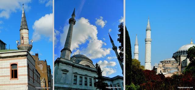 Minaretes de mesquitas em Istambul, Turquia