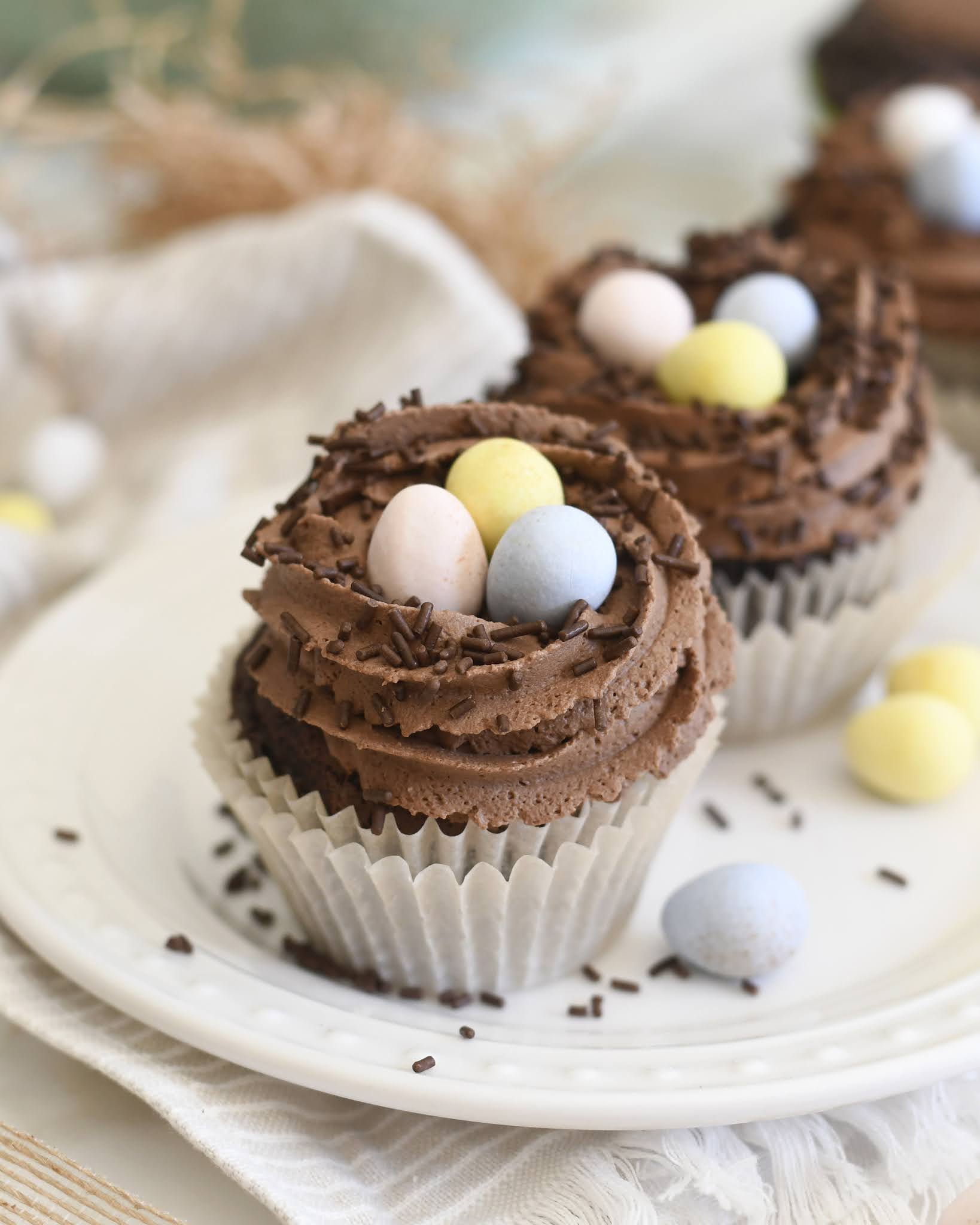Easter Egg Nest Chocolate Cupcakes
