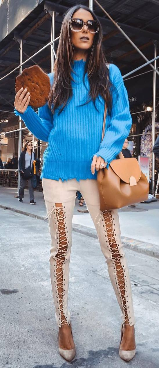 fashion trends | blue sweater + bag + lace up skinnies + heels