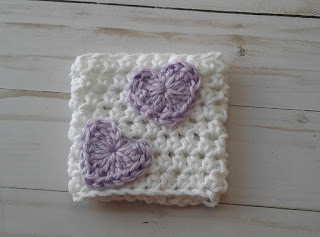 crochet coffee cup sleeve purple hearts