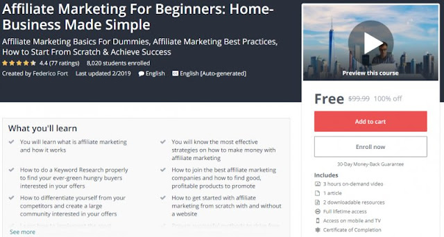 [100% Off] Affiliate Marketing For Beginners: Home-Business Made Simple| Worth 99,99$