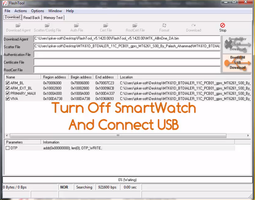 How to Flash Smart watch MT6261 BY FlashTool