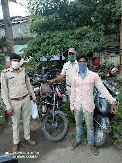 शातिर वाहन चोर गिरफ्तार, चुराई हुई 1 एक्टीवा एवं 1 मोटर सायकिल कीमती 1 लाख रूपये की जप्त