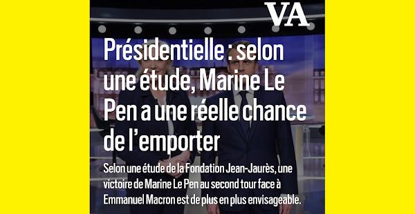 Présidentielle : selon une étude, Marine Le Pen a une réelle chance de l'emporter