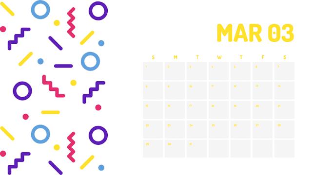 Colorido calendario del mes de marzo 2020