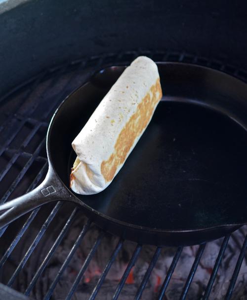 Grilled stuffed breakfast burrito on the Big Green Egg