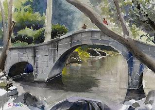水彩スケッチ 有栖川宮記念公園の太鼓橋