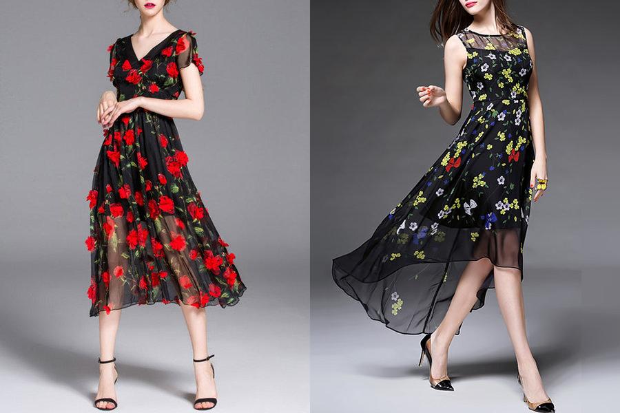 Vestidos florais com fundo preto