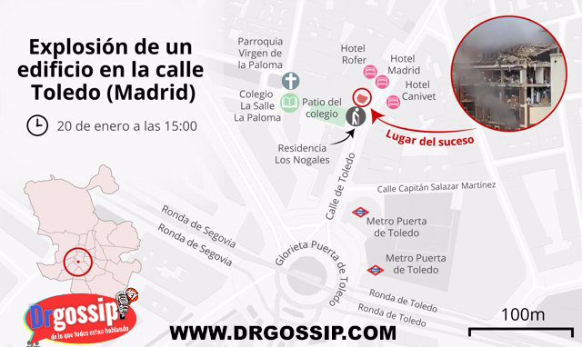 mapa del lugar explosion madrid