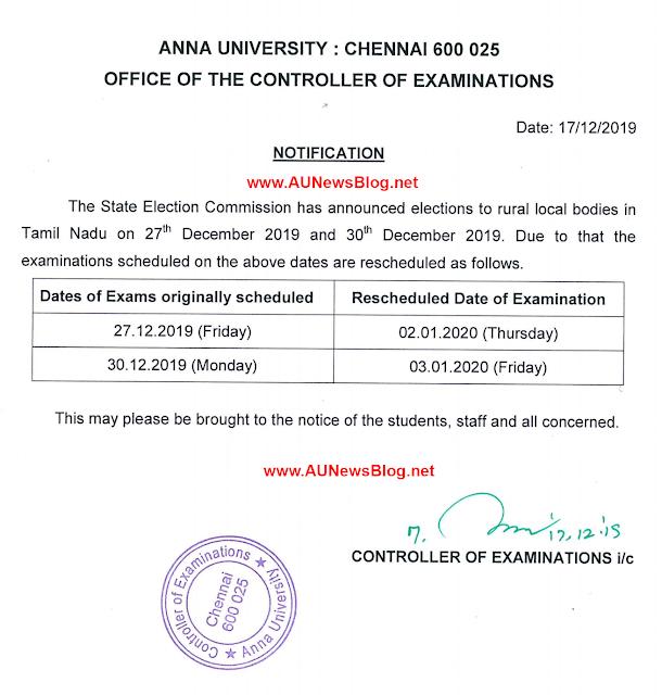Anna University postponed 27th & 30th December 2019 exams