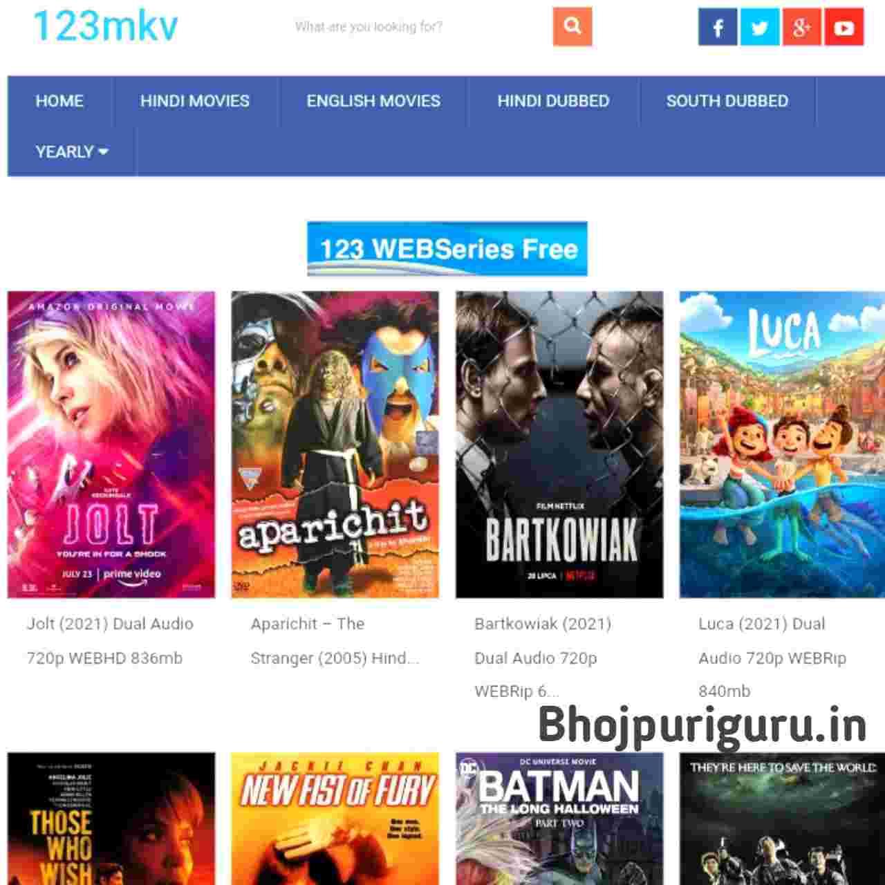 123mkv Movies - South Hindi Dubbed, Bollywood, Hollywood, Hindi Web Series Download - Bhojpuri guru