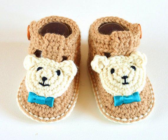 baby booties bear Crochet pattern