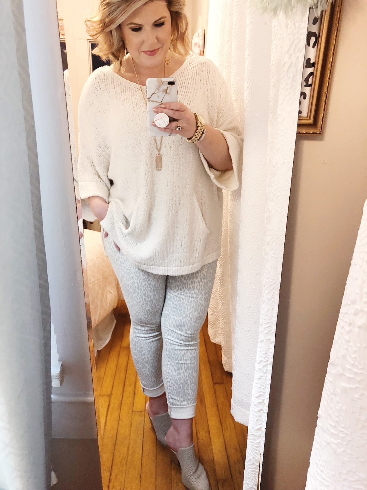 Easy outfits for work Free People sweater leopard print jeans