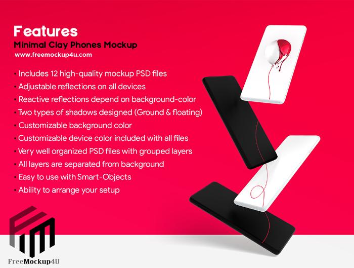 Minimal Clay Realistic Look  Phones Mockup Big Bundle Pack 02