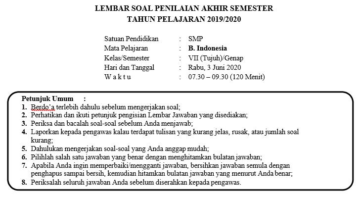 Soal Dan Kunci Jawaban Pat Bahasa Indonesia Smp Kelas 7 Semester