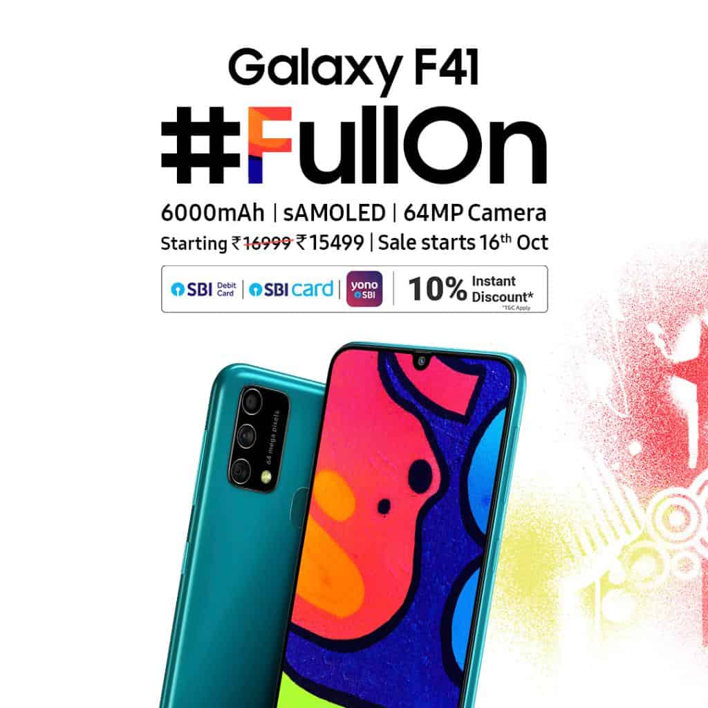 samsung galaxy F41 launched with 64 megapixel camera