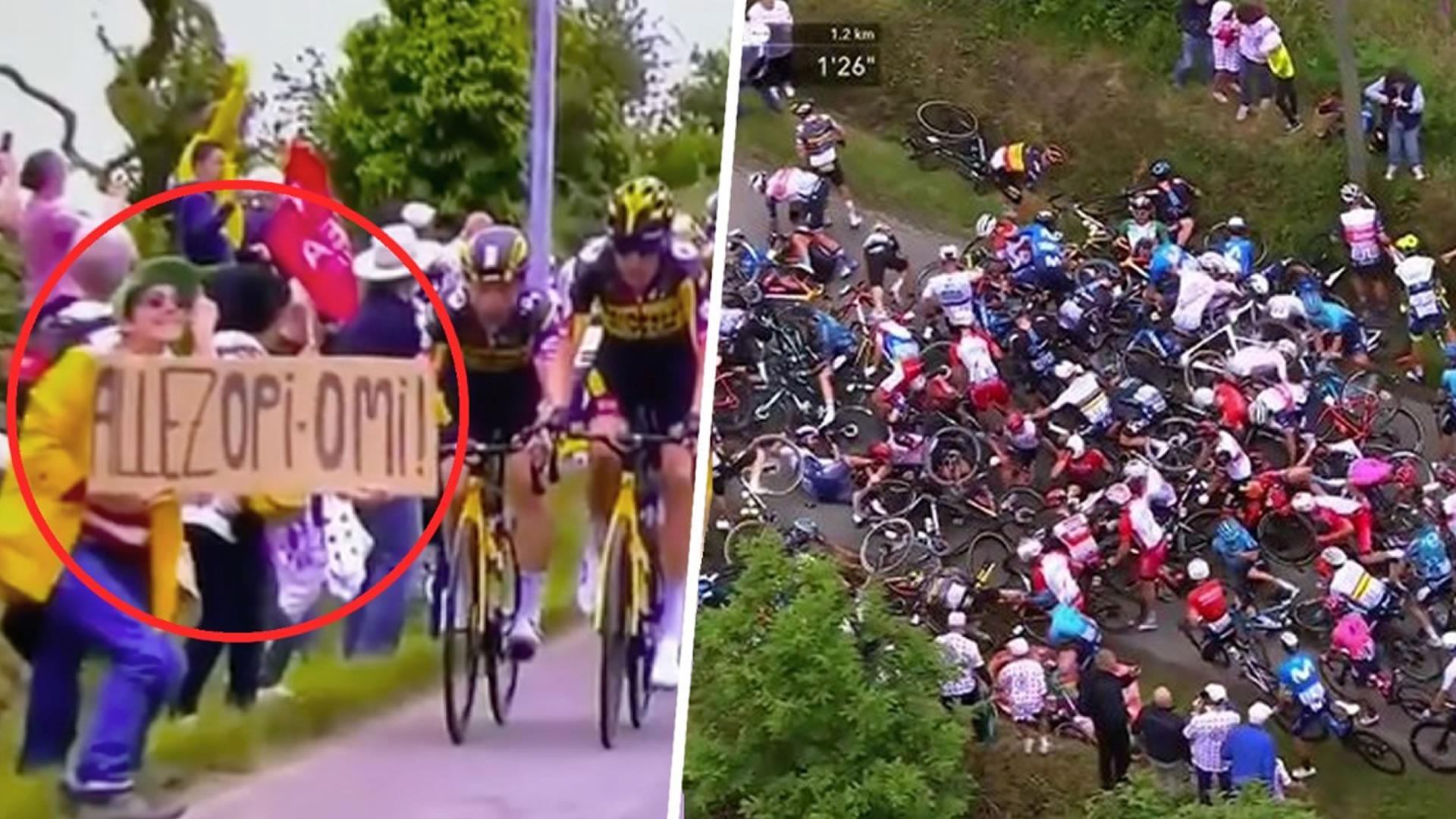 VIDEO: Un aficionado provoca terrible caída masiva en el Tour de Francia