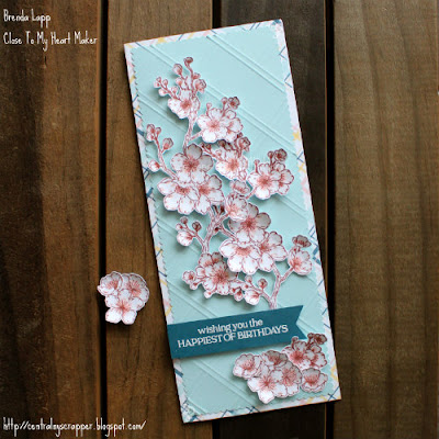 card created with Daisy Meadows and Cherry Blossoms