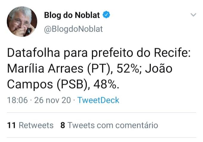 Datafolha no Recife: Marília 52% e João 48%