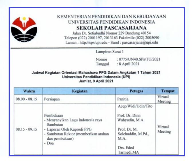 gambar jadwal  orientasi ppg daljab UPI 2021