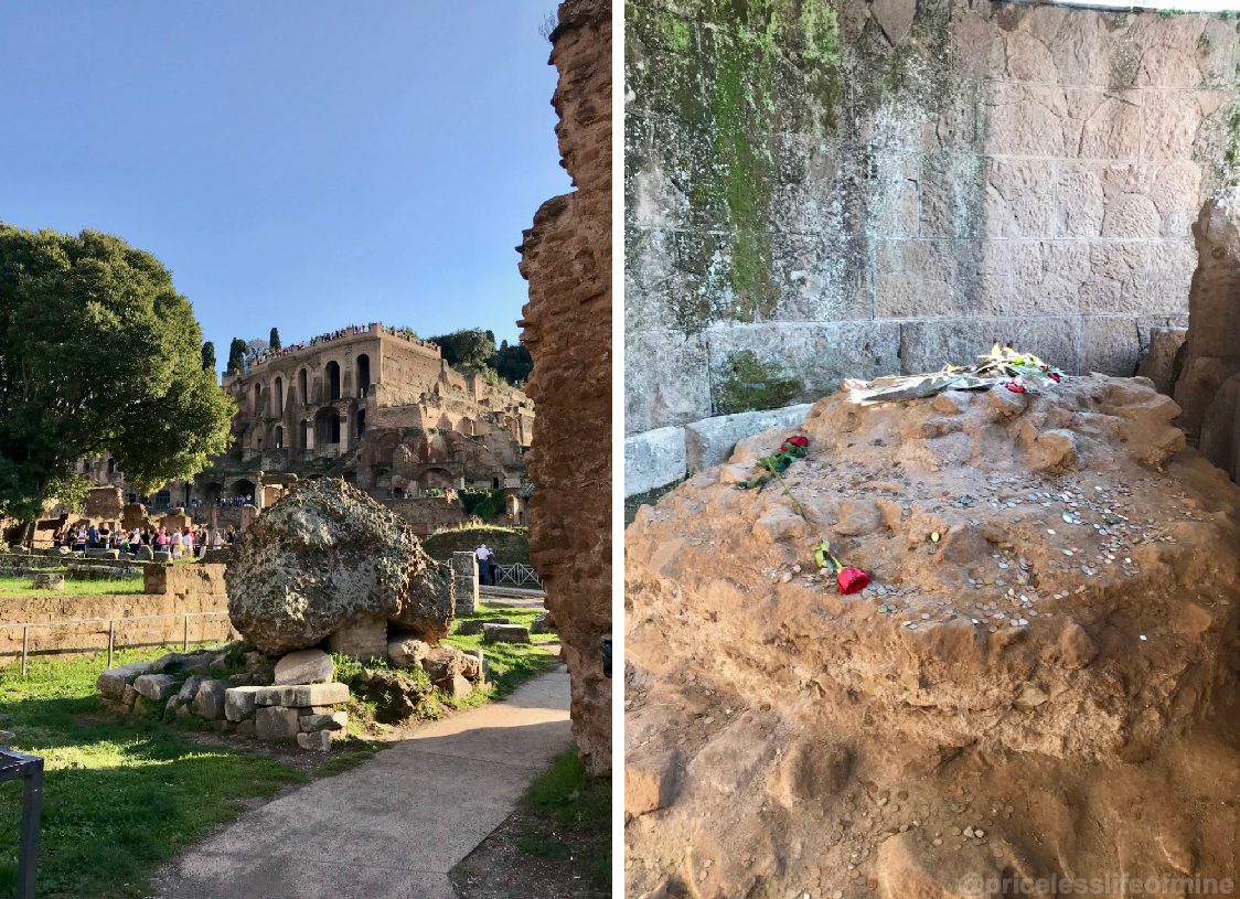 Views of the ruins and caesars ashes inside the Roman Forum