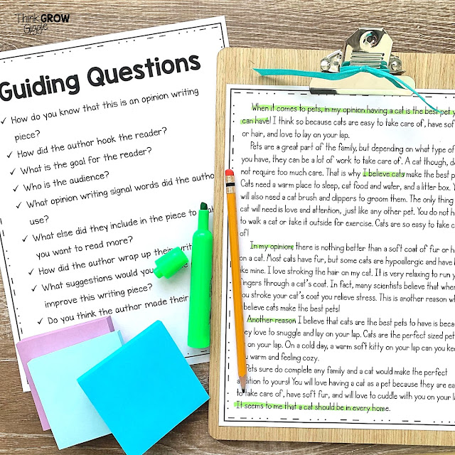 opinion writing activities using modeled writing examples