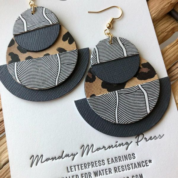 leopard print letterpress paper earrings