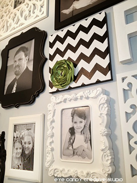 black and white chevron art, white IKEA frames, black and white photos