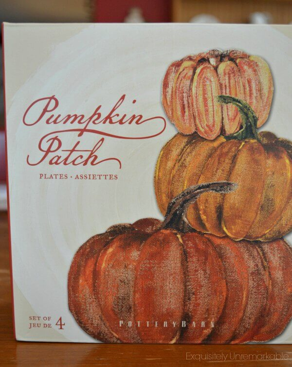 A box of pumpkin patch Pottery Barn plates