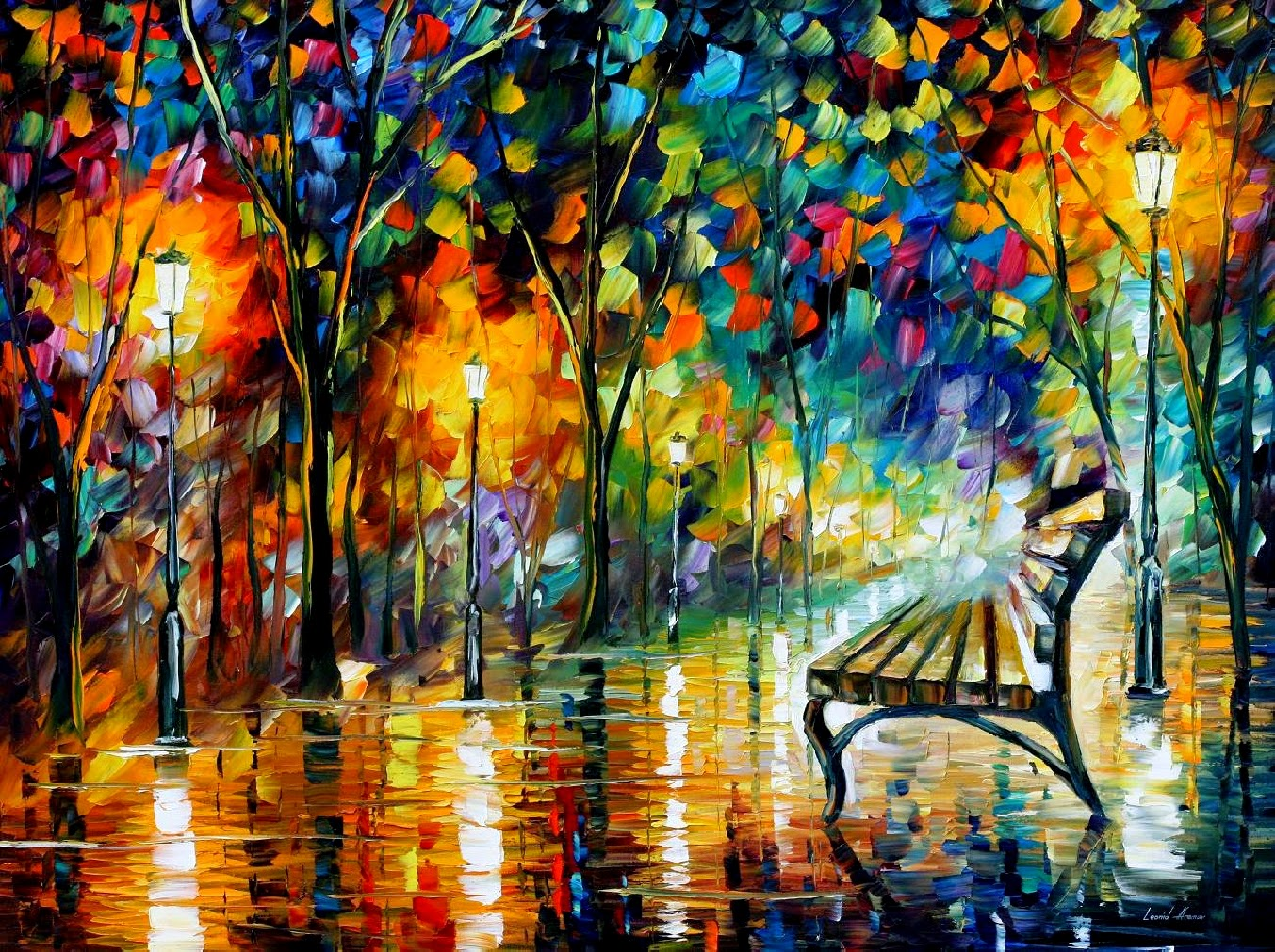 Solidão à Noite - Pinturas de Leonid Afremov | O mestres da  espátula