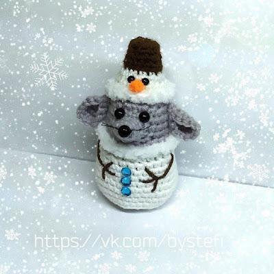 Мышонок-снеговик амигуруми