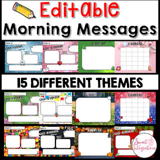 Editable Morning Message Templates. 15 different thems