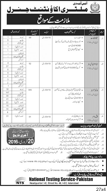 Jobs of Junior Auditor in Military Accounts 2016 Pakistan through NTS