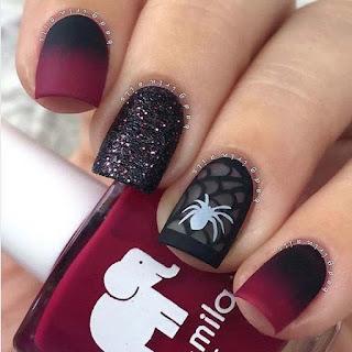 uñas halloween arañas roja
