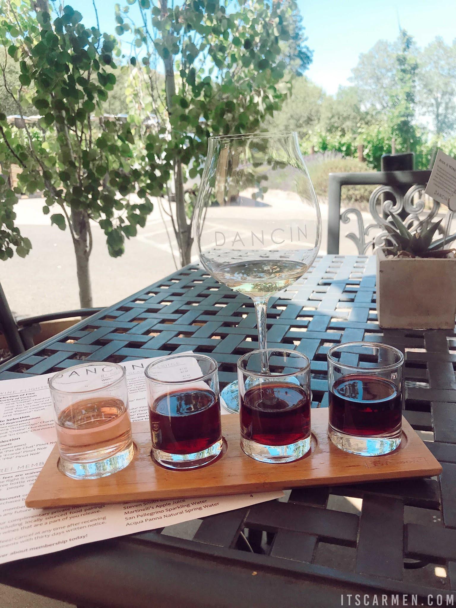 DANCIN Vineyards in Medford Oregon Tasting Room Menu Hours Southern Oregon Carmen Varner travel food blogger Wine Flight