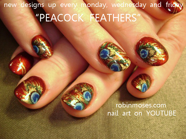 Nail Art By Robin Moses Peacock Nail Art Design Peacock Nails