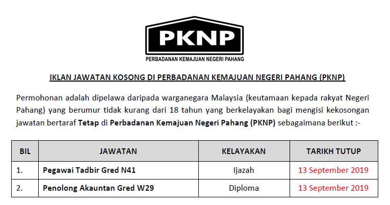 Jawatan Kosong Perbadanan Kemajuan Negeri Pahang Pknp Ejawatankini Com