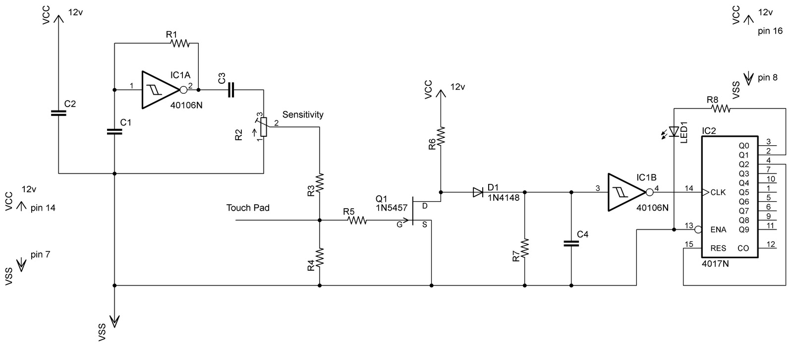 Touch Switch Circuit With Explnation Electronic Circuits Schematics