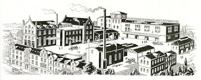 Former site of the Germania Brewery in Hannover, later turned into the  Heuweg-Werke Hannover Hannoversche Zuckerwaren und Konfitüren Fabrik A. G  Seilerstraße Südstadt Stich circa 1920 (unknown artists)  (from wikidata)