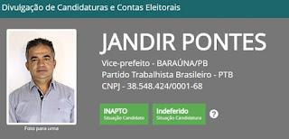 Juiz da 25ª Zona Eleitoral indefere pedido de registro de candidatura a vice-prefeito em Baraúna