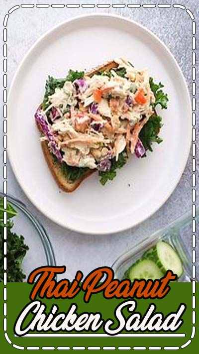 Put a healthy, creative twist on classic chicken salad by using this Greek yogurt and peanut butter base with tons of crunchy veggies. This Thai Peanut Chicken Salad recipe is great for meal prep lunches and snacks to enjoy throughout the week! #lowcarb #chicken #chickensalad #shreddedchicken #healthyrecipe #recipevideo